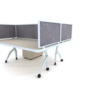 "Obex Acoustical Desk Mount Privacy Panel W/AL Frame, 24"" x 48"", Graphite"