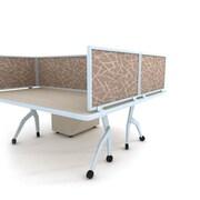 "Obex Acoustical Desk Mount Privacy Panel W/AL Frame, 24"" x 48"", Straw"