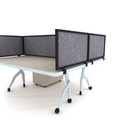 "Obex Acoustical Desk Mount Privacy Panel W/Black Frame, 12"" x 24"", Graphite"