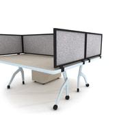 """Obex Acoustical Desk Mount Privacy Panel W/Black Frame, 12"""" x 48"""", Parids"""