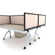 "Obex Acoustical Desk Mount Privacy Panel W/Black Frame, 18"" x 42"", Natural"