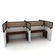 """Obex Acoustical Cubicle Mount Privacy Panel W/Large Bracket & Black Frame, 12"""" x 42"""", Straw"""