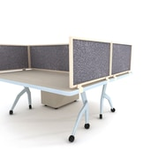 """Obex Acoustical Desk Mount Privacy Panel W/Brown Frame, 24"""" x 48"""", Graphite"""