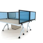 "Obex Polycarbonate Desk Mount Privacy Panel W/Black Frame, 12"" x 66"", Blue"