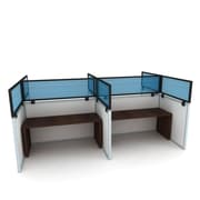 Obex Polycarbonate Cubicle Mount Privacy Panel W/Std Bracket & Black Frame, 24 x 72, Blue