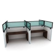Obex Polycarbonate Cubicle Mount Privacy Panel W/Large Bracket & Black Frame, 24x 72, Green