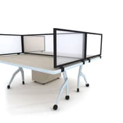 Obex Polycarbonate Desk Mount Privacy Panel W/Black Frame, 24 x 72, White