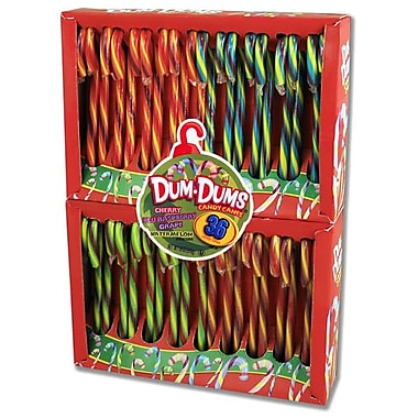 Dum Dum Assorted Fruit Flavored Candy Canes,36 Count 1 Box/Order