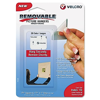 Velcro® Removable Light Duty Hook & Loop Fastener, 1 1/2in., White, 20/Set