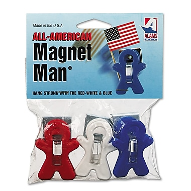 Adams® Magnet Manual Clip, Assorted, 3/Pack
