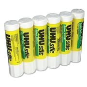 Saunders® UHU Stic Permanent Medium Glue Stick, 0.74 oz., White, 6/Pack
