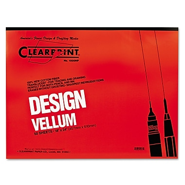 Chartpak® Clearprint® Design Vellum Paper, Translucent, 24in.(W) x 18in.(L), 50 Sheets