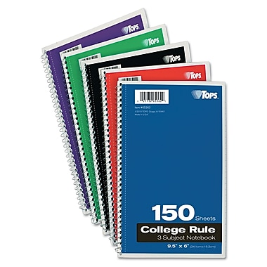 TOPS® Wirebound 3-Subject Notebook, 9 1/2in. x 6in.