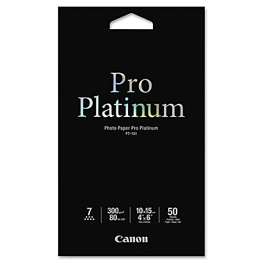 Canon® Pro Platinum High Gloss Photo Paper, 4in. x 6in., White, 50/Pack