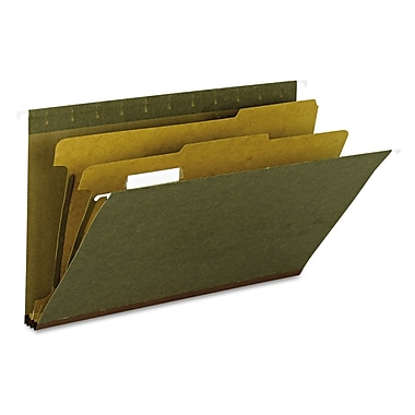 Smead® Legal 2 Dividers 1/5 Tab Hanging File Folder W/2in. Expansion, Standard Green, 10/Box