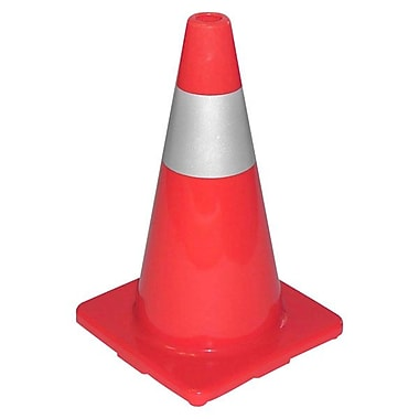 Tatco® Sturdy Molded Reflective Traffic Cone, 18