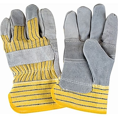 Zenith Safety Split Cowhide Striped Palm Fitters Gloves, Superior Quality, Large, Cuff Patch, 36/Pack