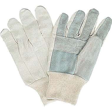 Zenith Safety Split Cowhide Leather Palm Gloves, Better Quality, White Back, Ladies, 36/Pack