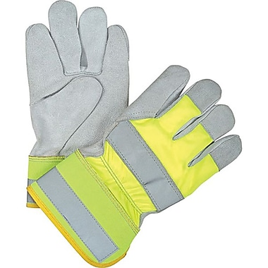 Zenith Safety High Visibility Split Cowhide Fitters Gloves, Large Size, 24/Pack