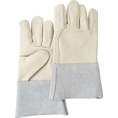 Zenith Safety Full Grain Cowhide Palm Gloves, Premium Quality, Unlined, L, Cowhide back, 12/Pack