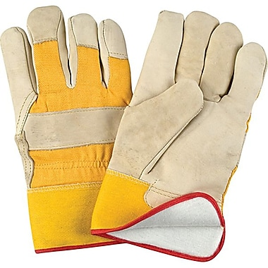 Zenith Safety Grain Cowhide Fitters Gloves, Foam Fleece Lined, Large Size, 12/Pack