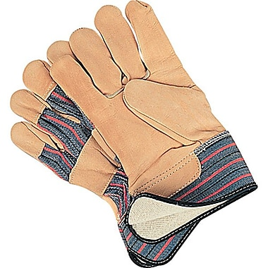 Zenith Safety Grain Cowhide Fitters Gloves, Cotton Fleece Lined, Large Size, 12/Pack