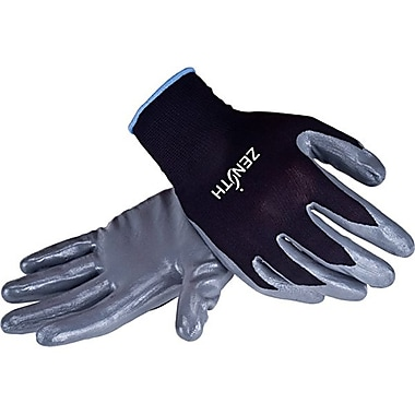 Zenith Safety Black Nylon Nitrile Coated Gloves, Size 8, 60/Pack