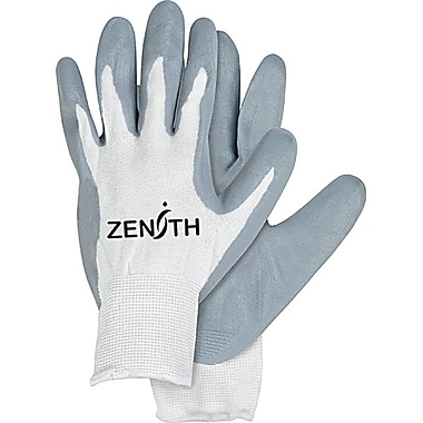 Zenith Safety Lightweight Nitrile Foam Palm Coated Gloves, Size 8, 36/Pack
