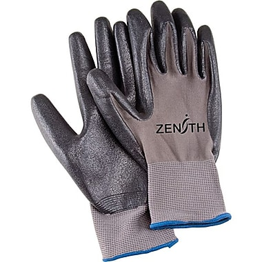 Zenith Safety Black Lightweight Nitrile Foam Palm Coated Gloves, Size 8, 36/Pack