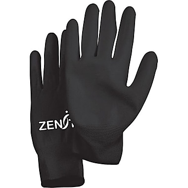 Zenith Safety Lightweight Polyurethane Palm Coated Gloves, Black, 60/Pack