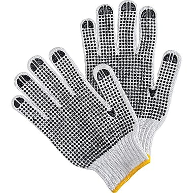 Zenith Safety White Poly/Cotton Both Sides Dotted Gloves, Large Size, 120/Pack