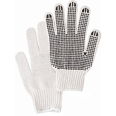 Zenith Safety White Poly/Cotton Single Side Dotted Gloves, Large Size, 120/Pack