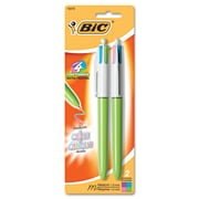 BIC® 4-Color™ Retractable Ballpoint Pen, 1 mm Medium, Assorted, Lime Green Barrel, 2/Pack
