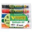 Pilot® V BeGreen Dry Erase Marker, Assorted, Chisel Tip, 5/Pack