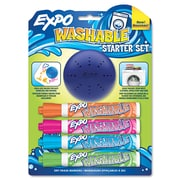 Expo® Washable Dry-Erase Marker Starter Set With Eraser, Med Point Tip, Assorted, 4/Pack