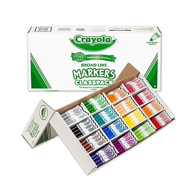 Crayola® Non-Washable Broad Line Markers Classpack®, Assorted, 256/Pack