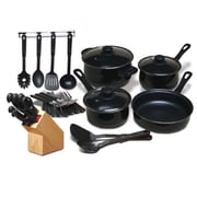 Moda Fina 32 Piece Chef Du Jour Cookware Combo Set, Black