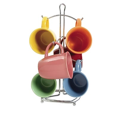 Gibson® Curve Mug Set With Metal Rack, Assorted, 7 Piece/Set