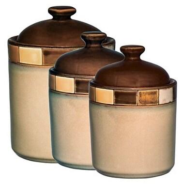 Gibson® Casa Estebana 3 Piece Canister Set, Beige/Brown