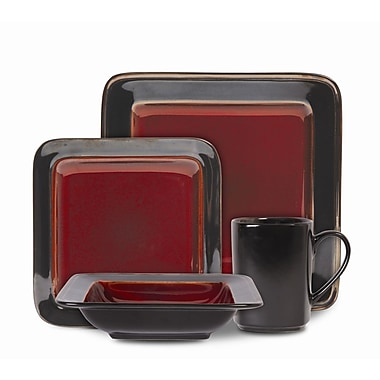 Gibson® Elite Astro Galleria Dinnerware Set, 16 Piece, Red