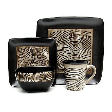 Gibson® Elite Mountain Zebra Dinnerware Set, 16 Piece, Black