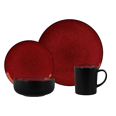 Gibson® Elite Novabella Dinnerware Set, 16 Piece, Burgundy