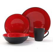 Gibson® Home Vivendi Dinnerware Set, 16 Piece, Red/Black