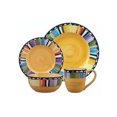 Gibson® Fandango Dinnerware Set, 16 Piece, Gold