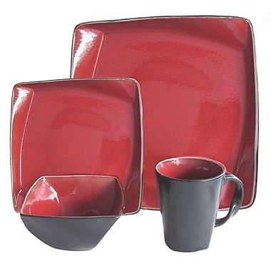 Gibson® Figueroa Cafe Dinnerware Set, 16 Piece, Red/Black