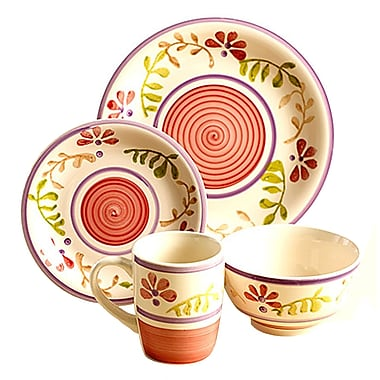 Gibson® Home Gabrielle Bloom Floral Dinnerware Set, 16 Piece, Pink