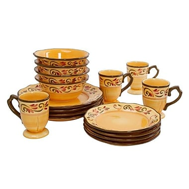 Gibson® Heritage Park Dinnerware Set, 16 Piece, Light Brown
