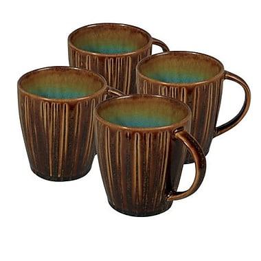 Gibson® Cressa Reactive Stoneware Mug Set, Amber, 13 oz., 4/Set