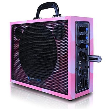 Technical Pro WASP300 6 1/2in. Portable PA System With Rechargeable Battery, Pink