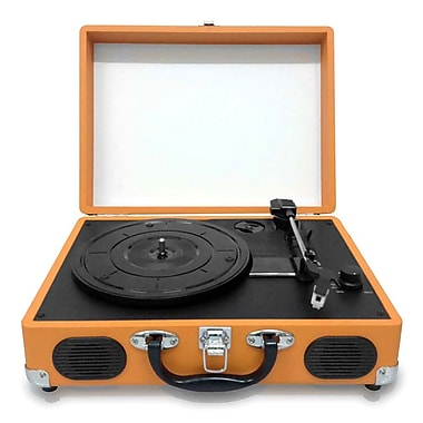 Pyleaudio® PVTT2U Retro Belt-Drive Turntable W/USB-to-PC Connection, Rechargeable Battery, Orange
